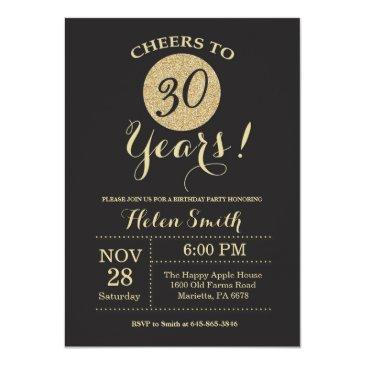 30th birthday invitations black and gold glitter