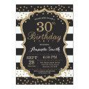 30th birthday invitation. black and gold glitter invitation