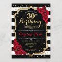 30th birthday invitation black white stripes roses