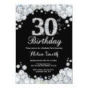 30th birthday invitations chalkboard silver diamond