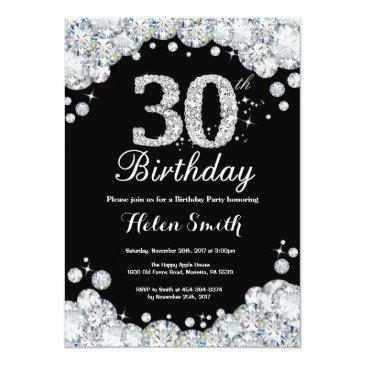30th birthday invitation chalkboard silver diamond