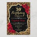 30th birthday - red roses leopard print invitation