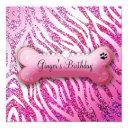311 posh pooch birthday invite glitter zebra