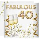 40 fabulous gold champagne 40th birthday party invitation