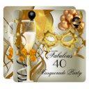 40 & fabulous gold cream black masquerade party invitation