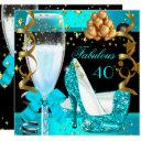 40 fabulous teal blue gold 40th birthday party 3 invitations
