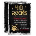 40 rocks rockstar guitar 40th birthday invitation