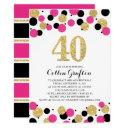 40th birthday black hot pink gold glitter confetti invitations