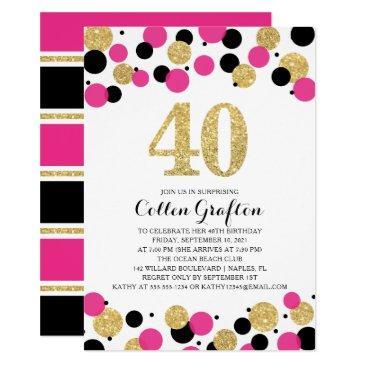 40th birthday black hot pink gold glitter confetti invitation