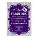 40th birthday - forty fabulous purple silver invitation