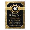 40th birthday invitations black and gold glitter