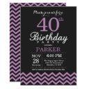 40th birthday invitation black and purple