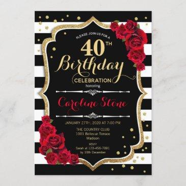 40th birthday invitation black white stripes roses
