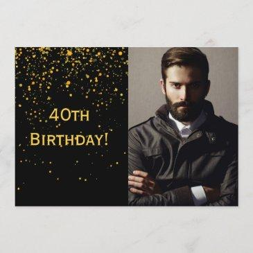 40th birthday invitation photo black for guys men