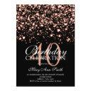 40th birthday party rose gold midnight glam invitations
