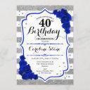 40th birthday - royal blue silver white stripes invitation