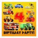 4th big truck birthday party invitations
