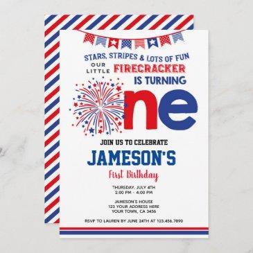 4th of july, firecracker invitation