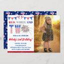 4th of july red white & two firecracker birthday invitation