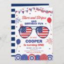 4th of july stars and stripes 1st birthday invitation