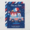 4th of july stars stripes ice cream truck birthday invitation