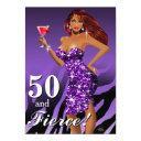 50 and fierce glam sparkly zebra bombshell purple invitations