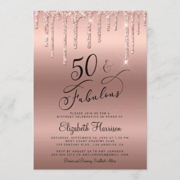 50 fabulous glitter rose gold birthday party invitation