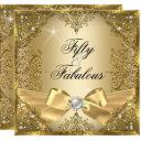 50 fabulous gold pearl bow 50th birthday invitations
