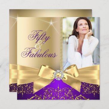 50 & fabulous photo gold purple bow 50th birthday invitation