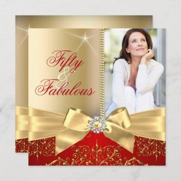 50 & fabulous photo gold red bow 50th birthday invitation