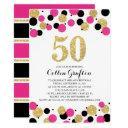 50th birthday black hot pink gold glitter confetti invitation