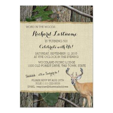 50th birthday buck with hunting camo invitation