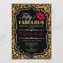 50th birthday - fifty fabulous leopard print invitation