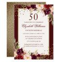 50th birthday gold burgundy floral invitation