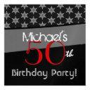 50th birthday gray black red sheriff stars w271 invitation