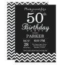 50th birthday invitation black and white chevron