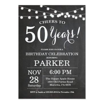 50th birthday invitation chalkboard