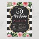 50th birthday invitation women. floral gold black