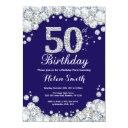 50th birthday navy blue and silver diamond invitation