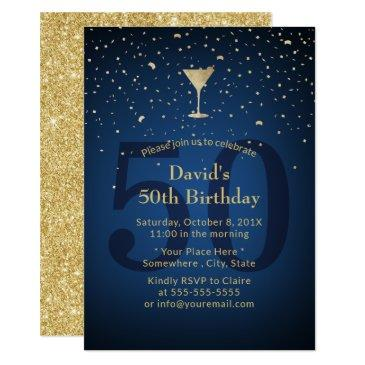 50th birthday navy blue modern gold cocktail party invitation