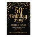 50th birthday party - black & gold invitation