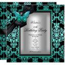 50th birthday party blue silver damask butterfly invitations
