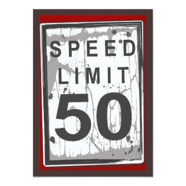 50th birthday party grungy speed limit sign invitation