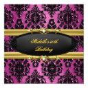 50th birthday party pink gold damask black diamond invitation