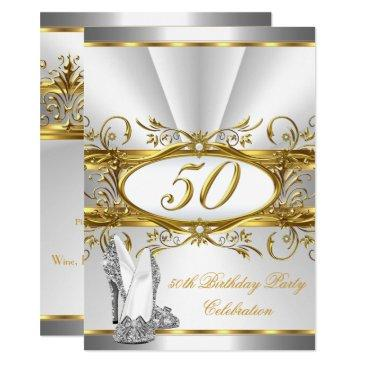 50th birthday party white gold silver heels invitation