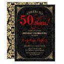 50th birthday - red gold black damask invitation