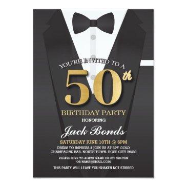 50th birthday spy suit black tie gold invitation