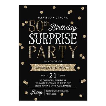 50th glitter confetti surprise party invitations