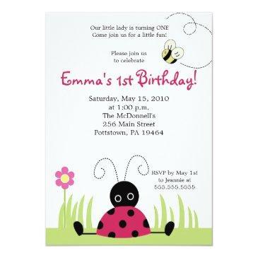 Small Little Ladybug Spring Birthday Invitation Front View