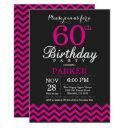 60th birthday invitation black and hot pink